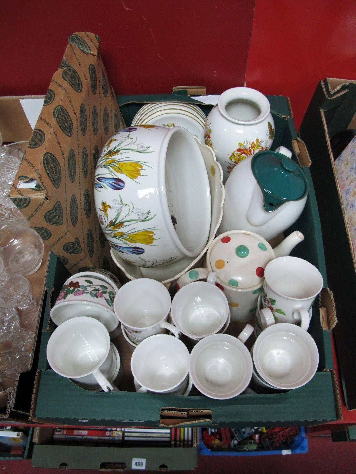 "Lot 459 - A Portmeirion ""Botanic Garden"" Vase, jardiniere, ramekins, Denby Greenwheat jug, various cups, etc:-"