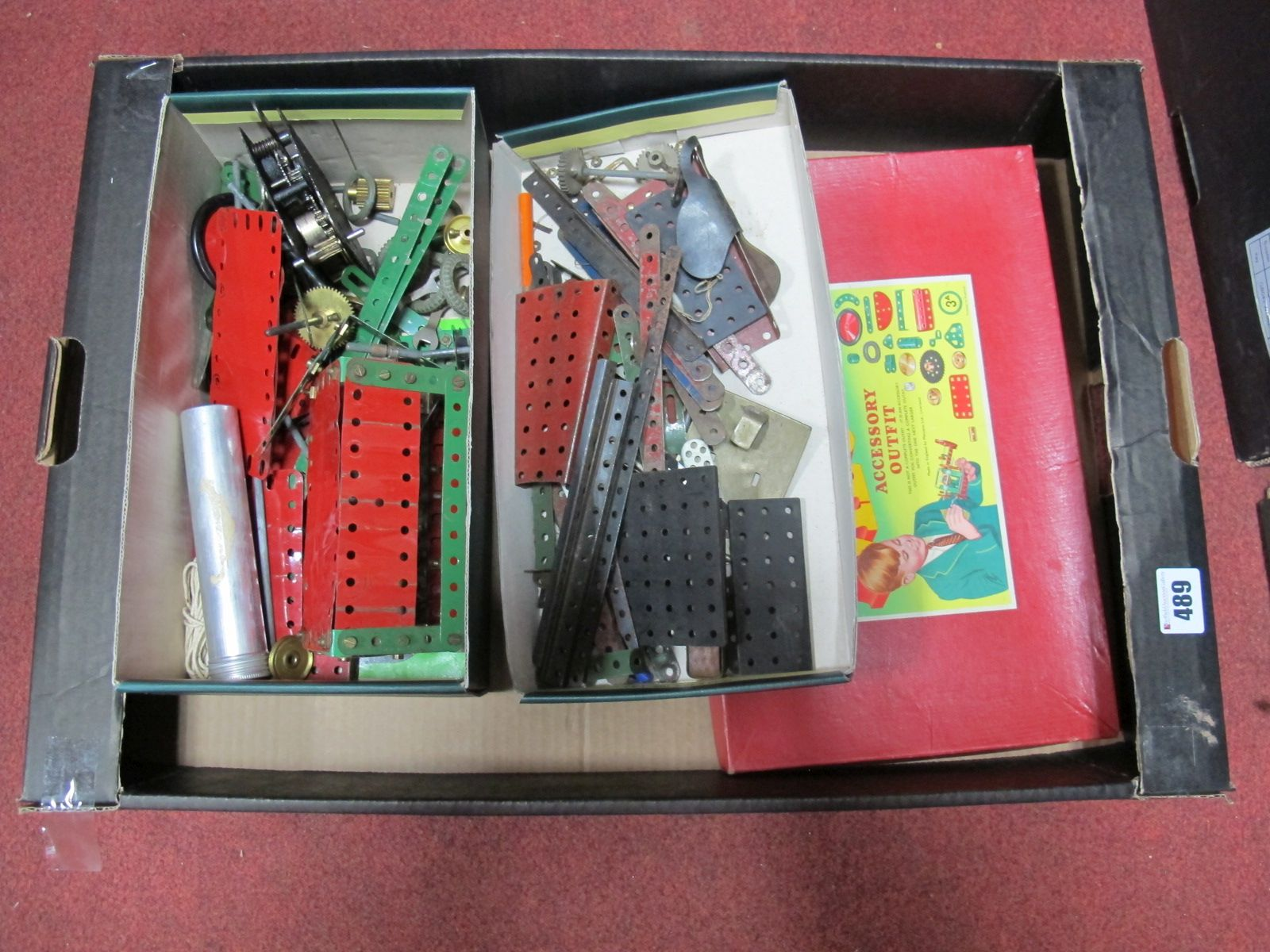 Lot 489 - A Quantity of Post War Meccano, including clockwork motor, boxed #38A accessory outfit (