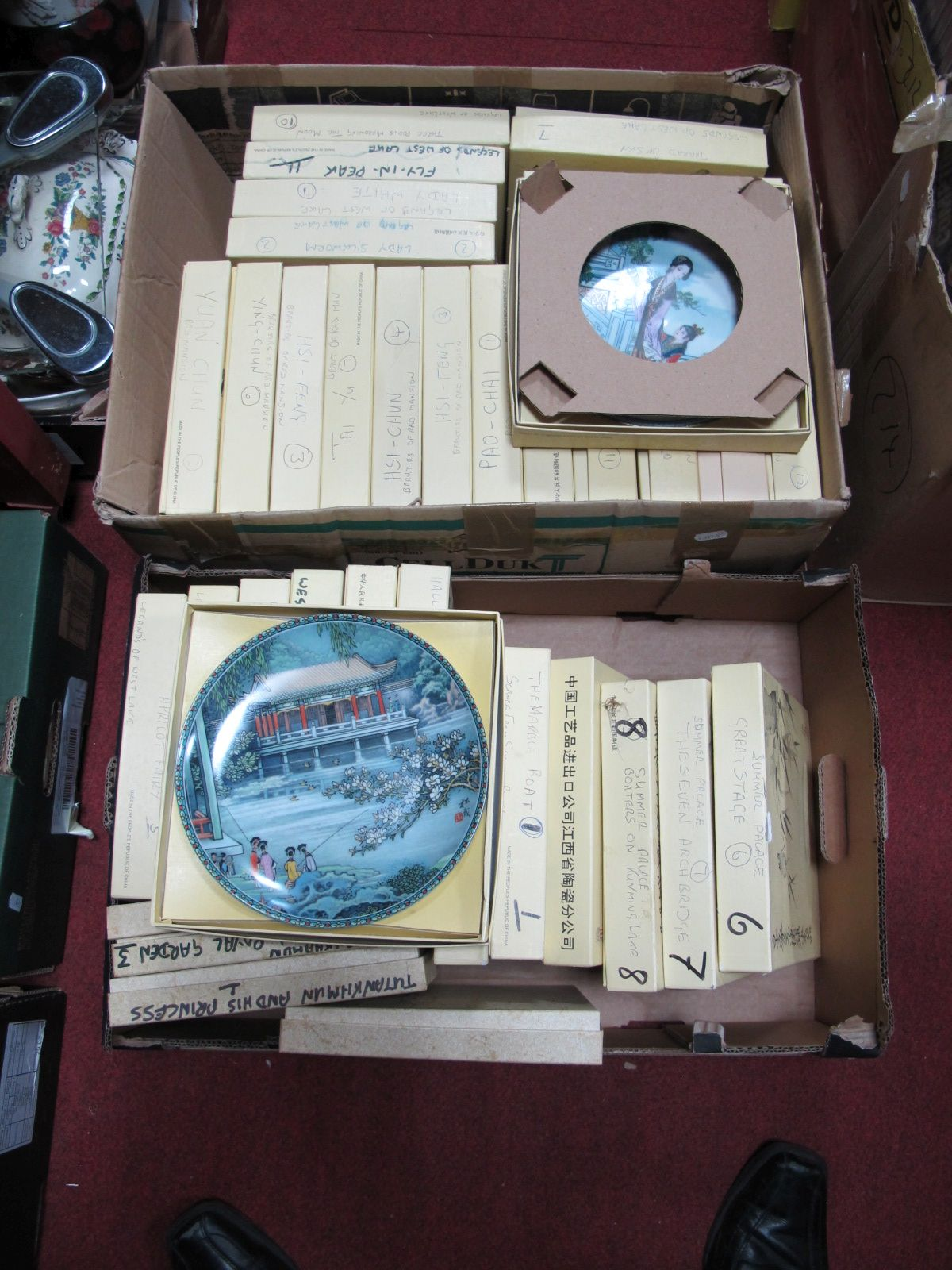 "Lot 491 - Two Boxes of Chinese Collectors Plates from the ""Legends of the Lake"", ""Beauties of the Red Mansion"""
