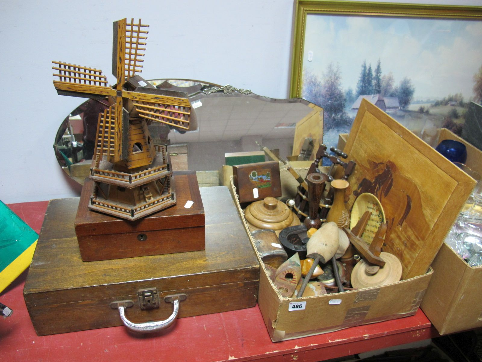 Lot 486 - Two 1940's Wall Mirrors, scratch built windmill, XX Century mahogany box, oak carry case and other