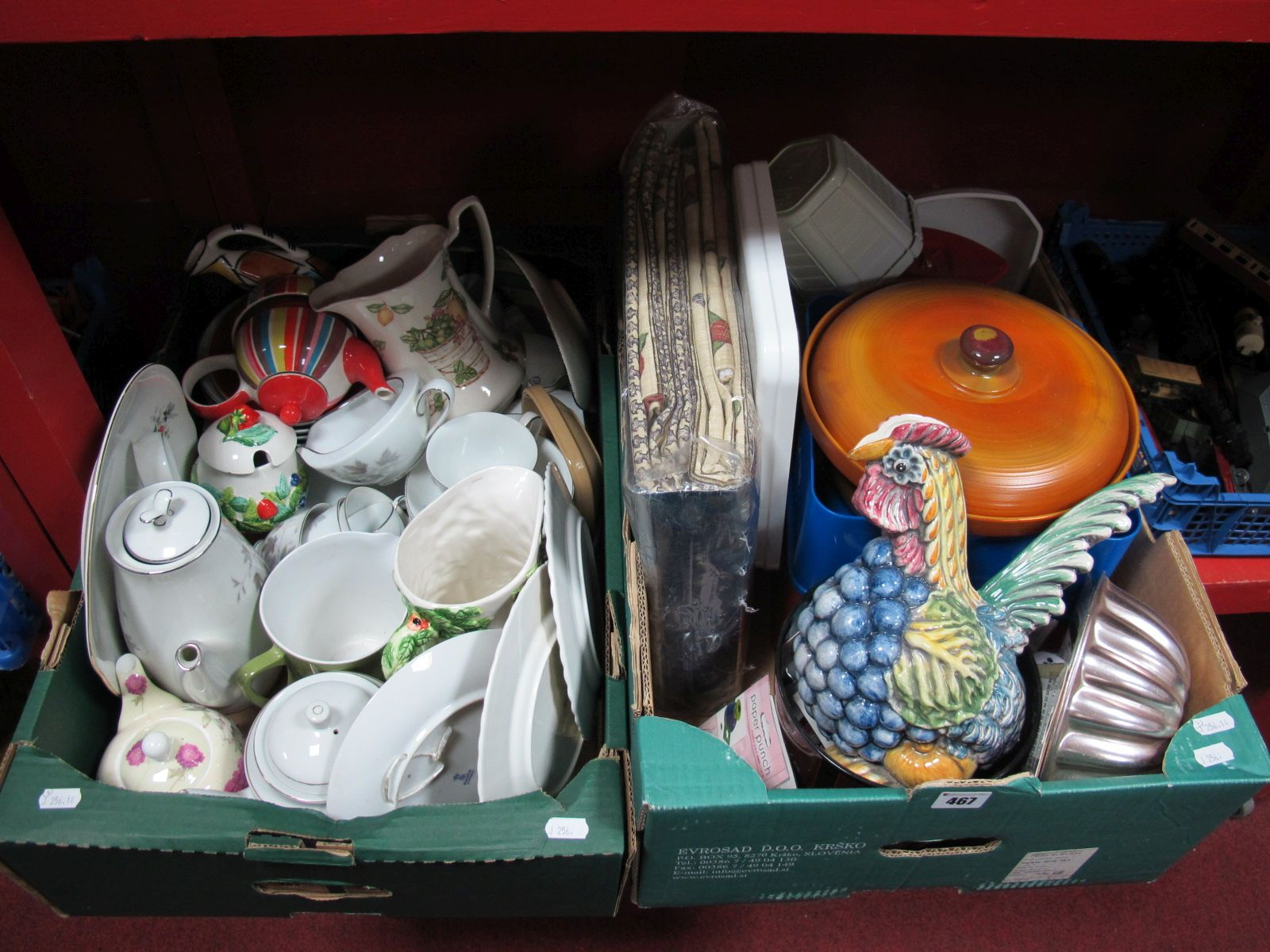 Lot 467 - A Noritake China Part Tea Service, kitchen scales, pair of lined curtains, etc:- Two Boxes