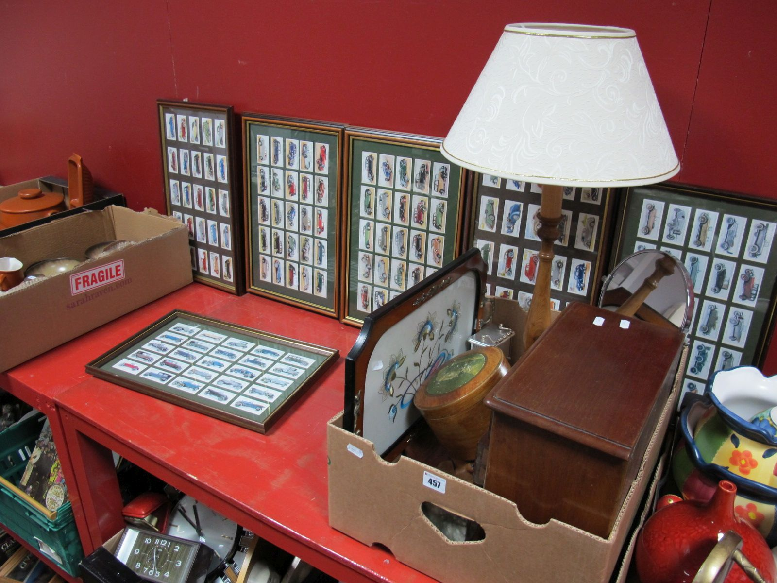 Lot 457 - A Quantity of Framed Reproduction Cigarette Card Sets (6), jewellery cabinet, table lamp,