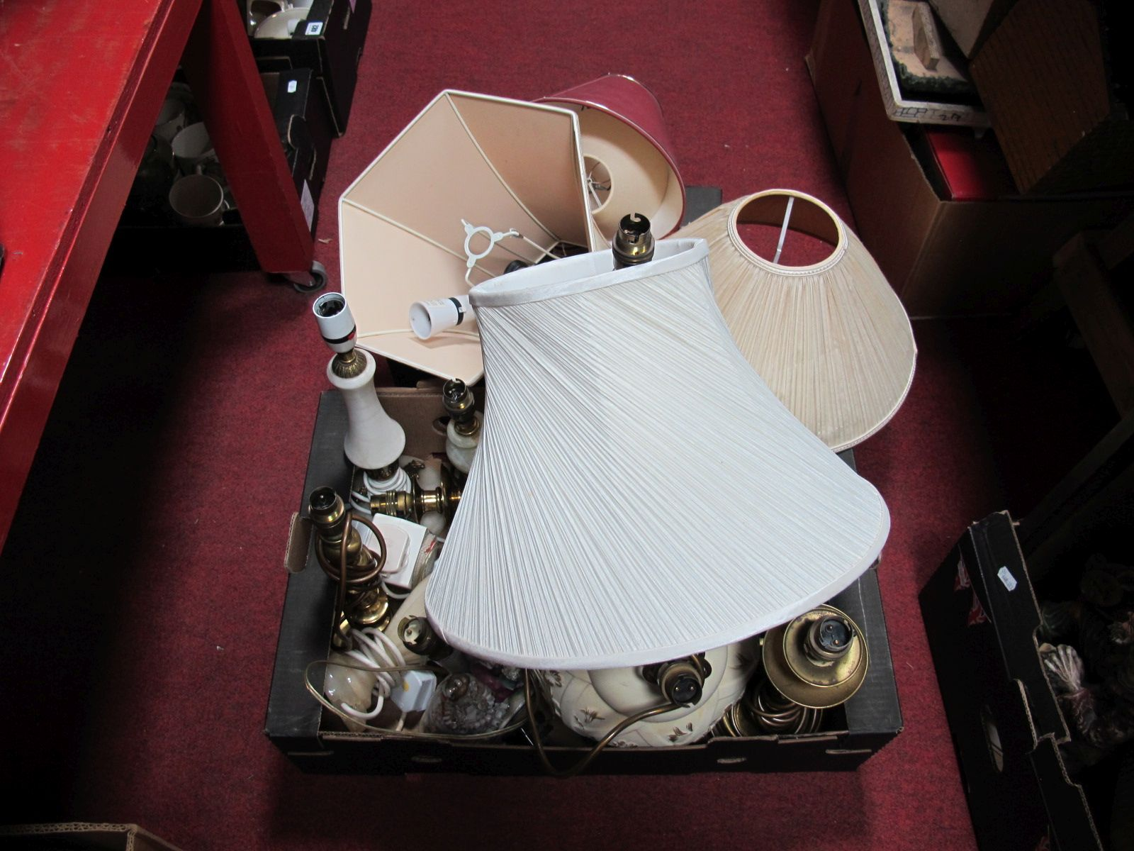 Lot 481 - Table Lamps and Shades:- Two Boxes