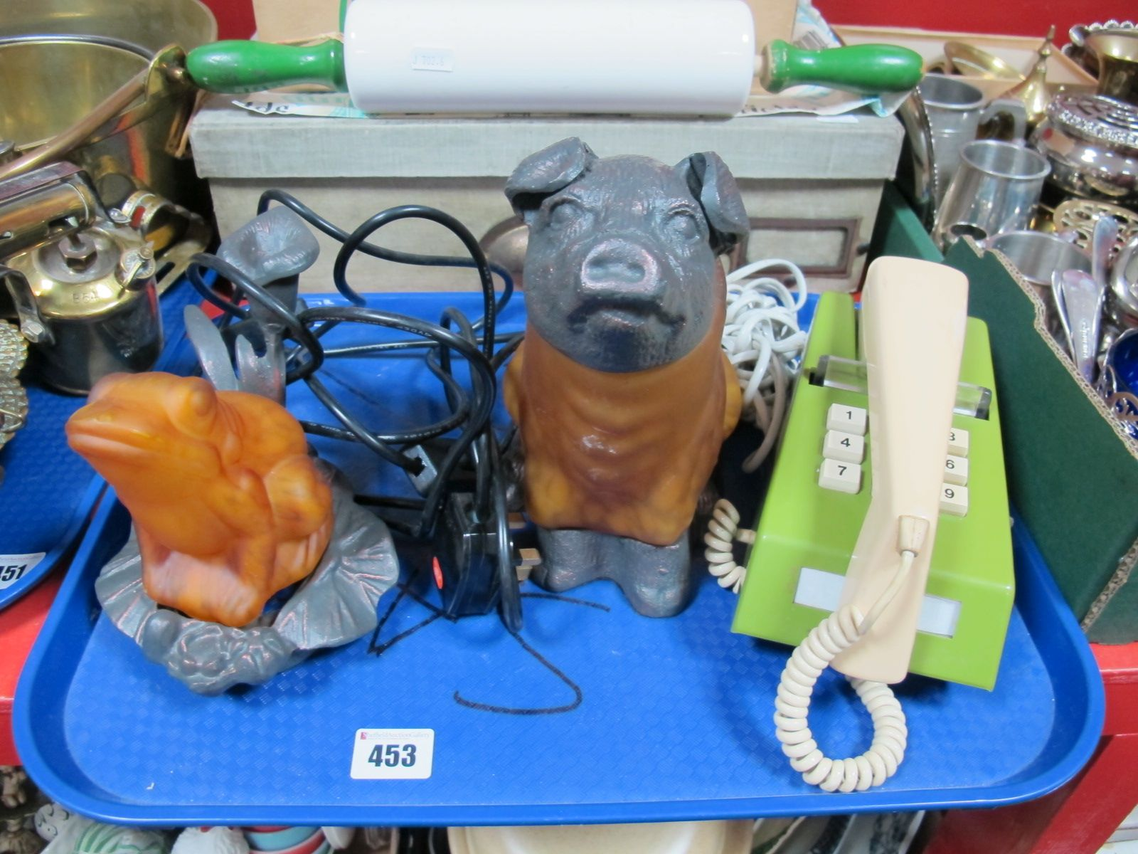 Lot 453 - A Circa 1970's Style Twin Tone Telephone (8766-FWR82), and two novelty night lights formed as a