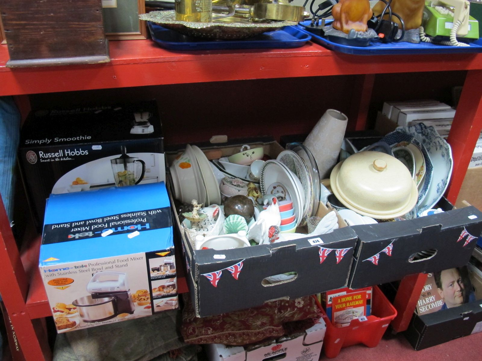Lot 474 - Meat Plates, egg crock, cheese dish, Portmeirion and other pottery :- Two Boxes plus Food Mixer,