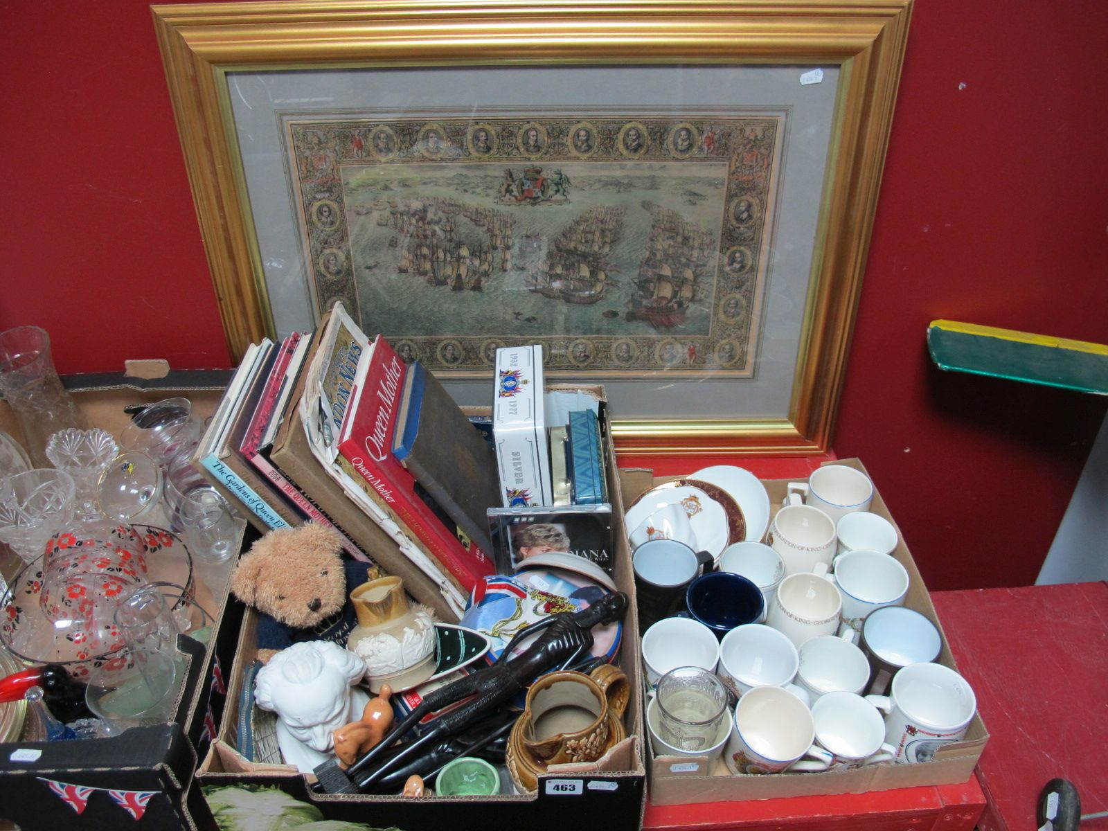 Lot 463 - Royal Commemorative Cups and Saucers, mugs, storage tins, newspapers, books, CD etc; together with