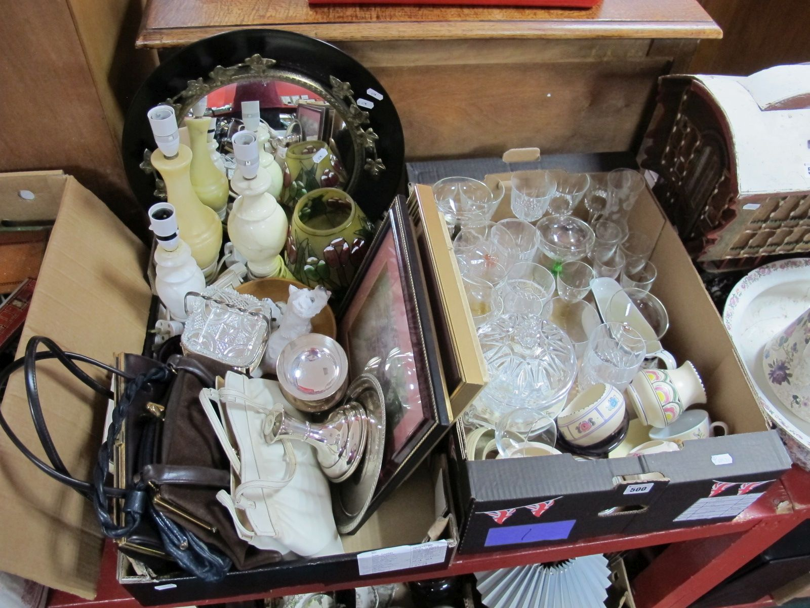 Lot 500 - Glass Wines, harlequin champagnes, ladies handbags, decoupage pictures, onyx table lamps, plated