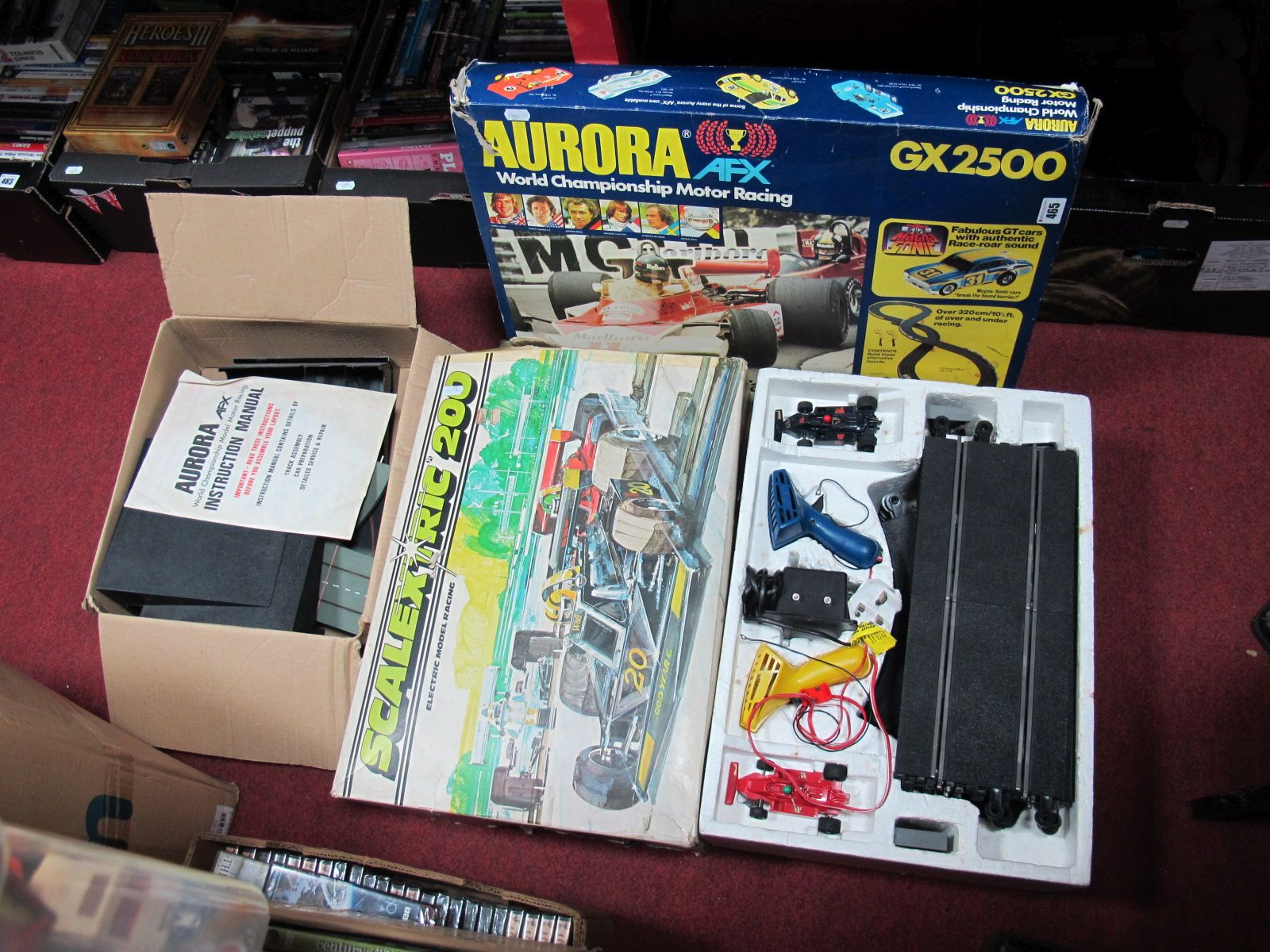 Lot 465 - A Scalextric 200 Set, Aurora set (missing cars) and associated items.