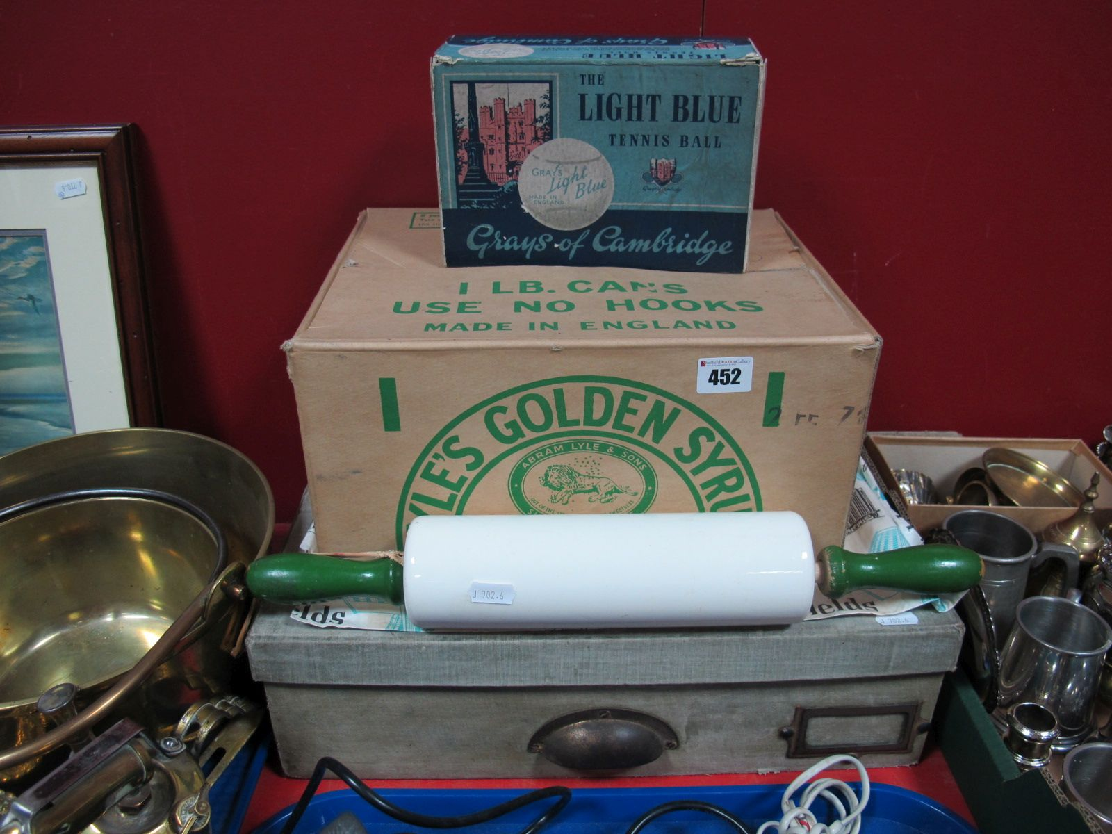 "Lot 452 - Advertising- A Mid XX Century ""Nutbrown"" Rolling Pin, Lyle's ""Golden Syrup"" box, Gray's ""Light"