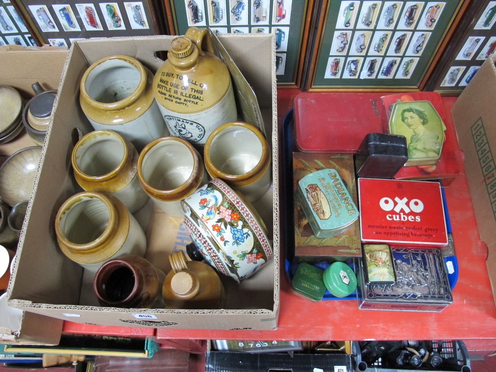 Lot 456 - Advertising Storage Tins, tinplate 'Household Needs' sign, Radiance, Oxo, etc together with glazed