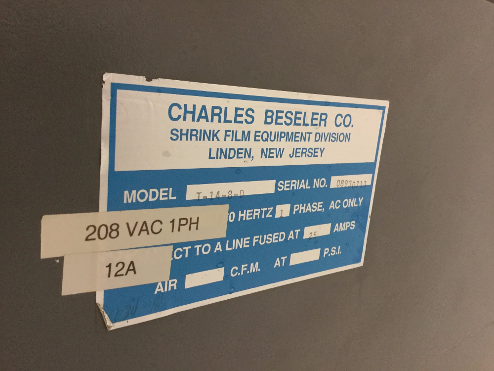 Lot 32 - Beseler Model T-14-8 Shrink Tunnel