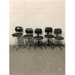 Lot of (5) Adjustable Height Lab Chairs