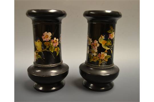 A Pair Of Bretby Art Pottery Chinoiserie Pattern Waisted Cylinder