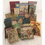 A box of assorted vintage children's books and annuals.