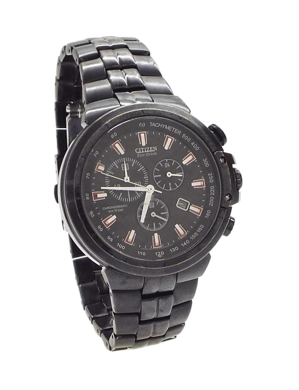 Lot 392 Citizen Eco Drive W R 10 Bar Chronograph Black Stainless Steel Gentleman