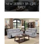 Brand New Boxed 3 Seater Plus 2 Seater New Jersey Reclining Sofas In Light Grey Fabric