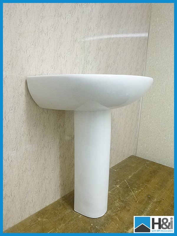 Lot 373 - Beautiful vieany bathroom sink 600mm x 500mm and pedestal ...
