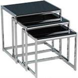 Boxed Hamlet Nest Of Nest Of Tables Black And Chrome RRP £120 (17902) IMAGES ARE FOR ILLUSTRATION