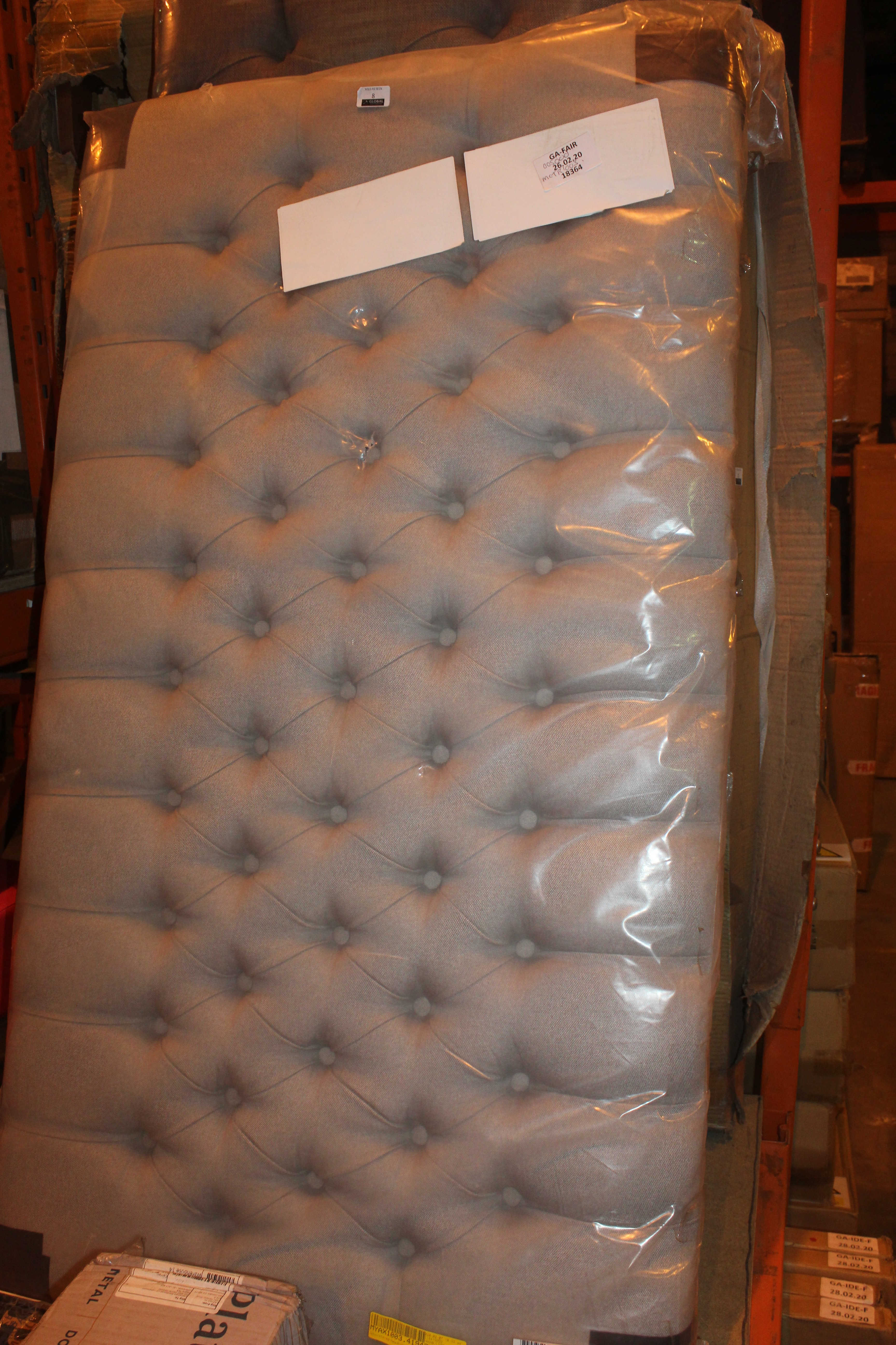 Grey Double Designer Headboard RRP £50. IMAGES ARE FOR ILLUSTRATION PURPOSES ONLY AND MAY NOT BE
