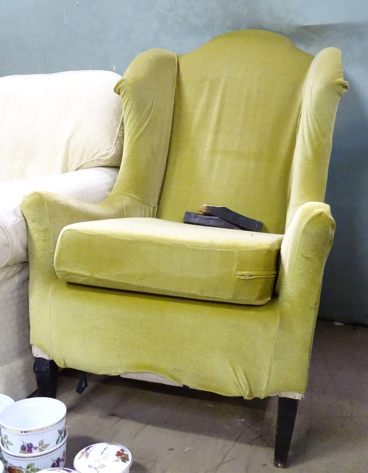 Lot 15 - A wingback armchair CONDITION: Please Note - we do not make reference to the