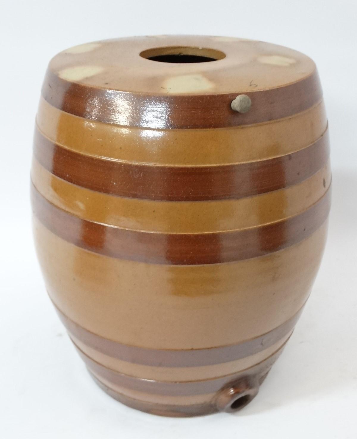 Lot 31 - Three Stoneware salt glazed 6 gallon barrels.