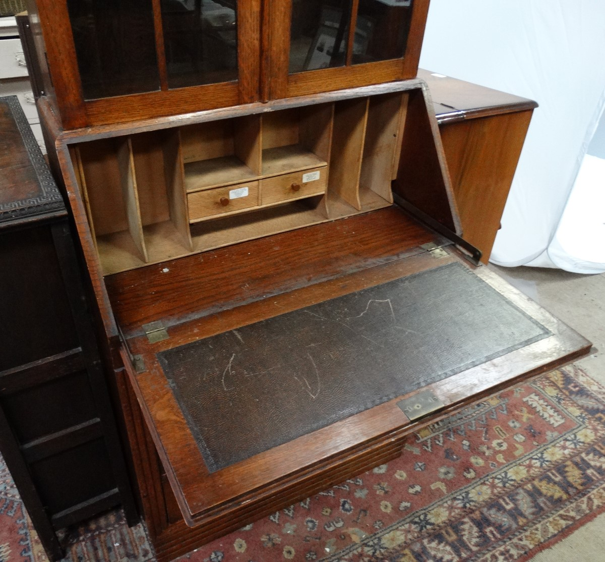 Lot 56 - 1930/40s bureau bookcase CONDITION: Please Note - we do not make reference to the