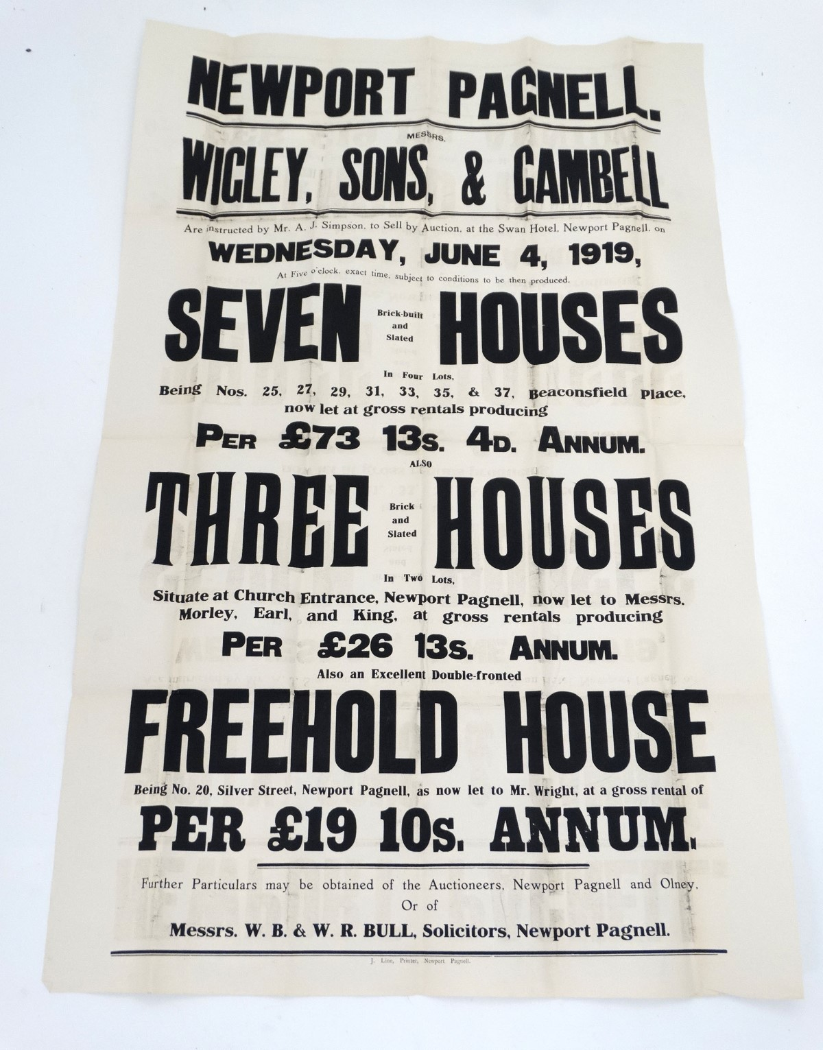 Lot 47 - Local Interest: Posters: Three auction posters advertising auctions held by J. P.