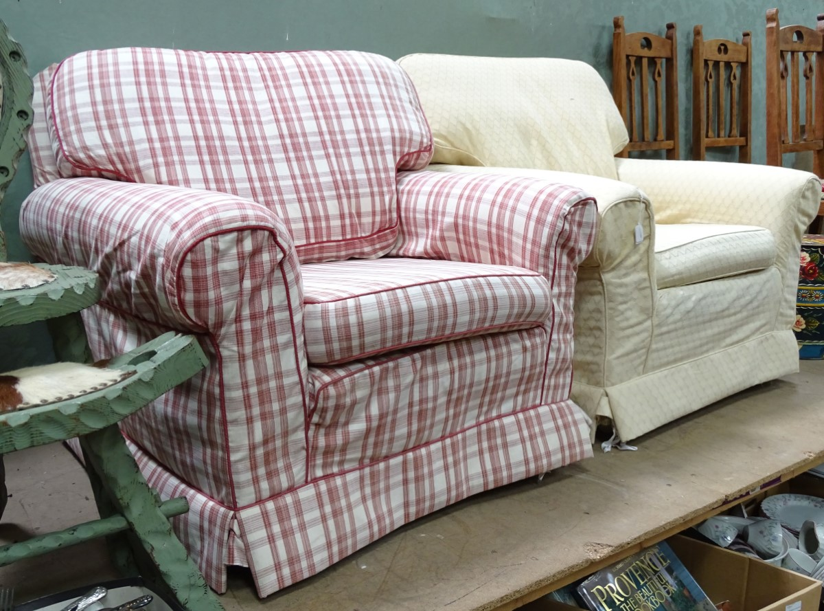Lot 11 - A pair of upholstered armchairs with different covers CONDITION: Please Note - we