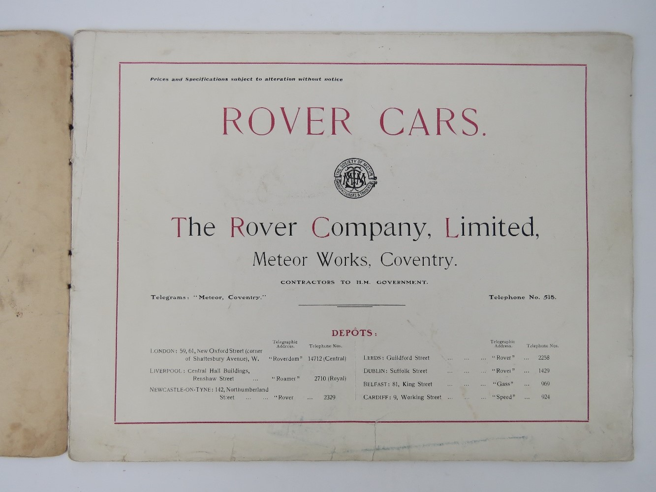 Lot 50 - Rover Cars 1909 - A scarce early sales catalogue;