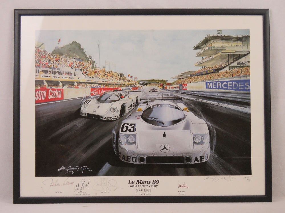 Lot 49 - A limited edition print Le Mans 1989 'Last Lap Before Victory', 140 of 500,