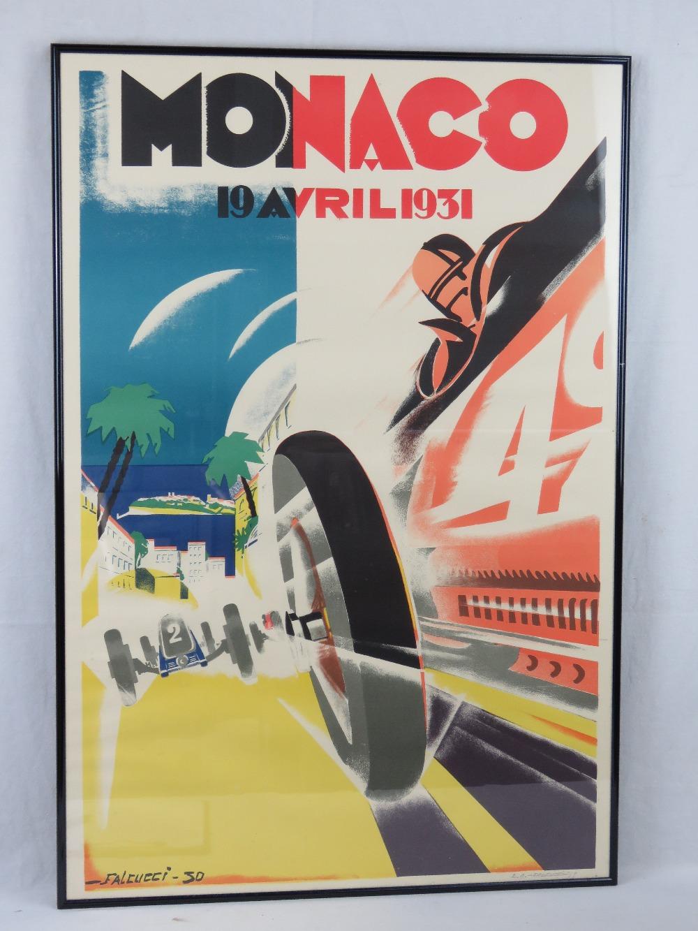 Lot 53 - A restrike 1931 Monaco Grand Prix poster dated for 19th April, signed in pencil EA Falcucci (19)89,