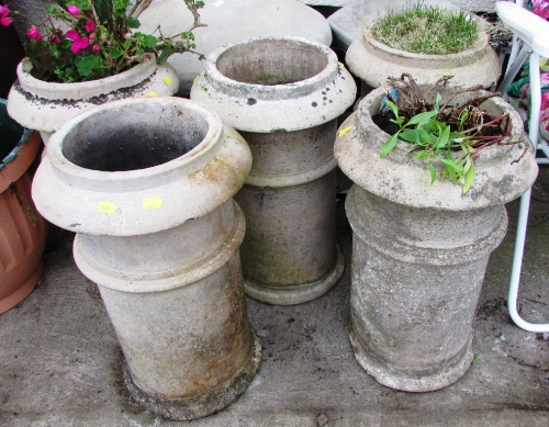 Lot 20 - FIVE COMPOSITE STONE CHIMNEY POTS (THREE WITH CONTENTS)