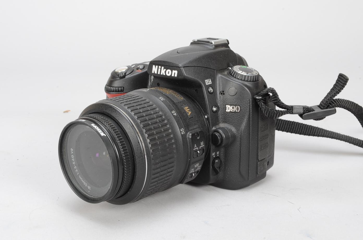 Lot 50 - A Nikon D90 DSLR Camera, serial no 7416534, with an AF-S DX Nikkor 18-55mm f/3.5-5.6G VR lens with