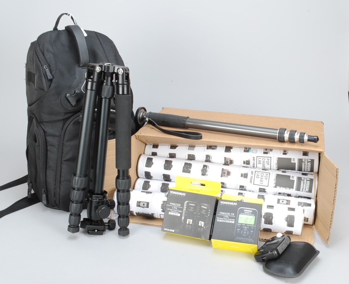 Lot 34 - A Manfrotto CarbonOne 443 Tripod and other Accessories, with a Manfrotto 496RC2 ball head, a