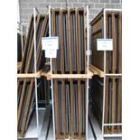 (27) Folding timber topped tables on 3 trolleys