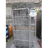 (3) Cages with quantity of wooden folding tables with tin tops