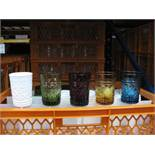 Quantity of various style glassware and Rattan charger plates