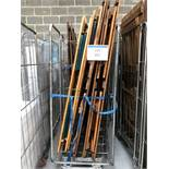 (3) Cages with quantity of wooden folding tables and benches