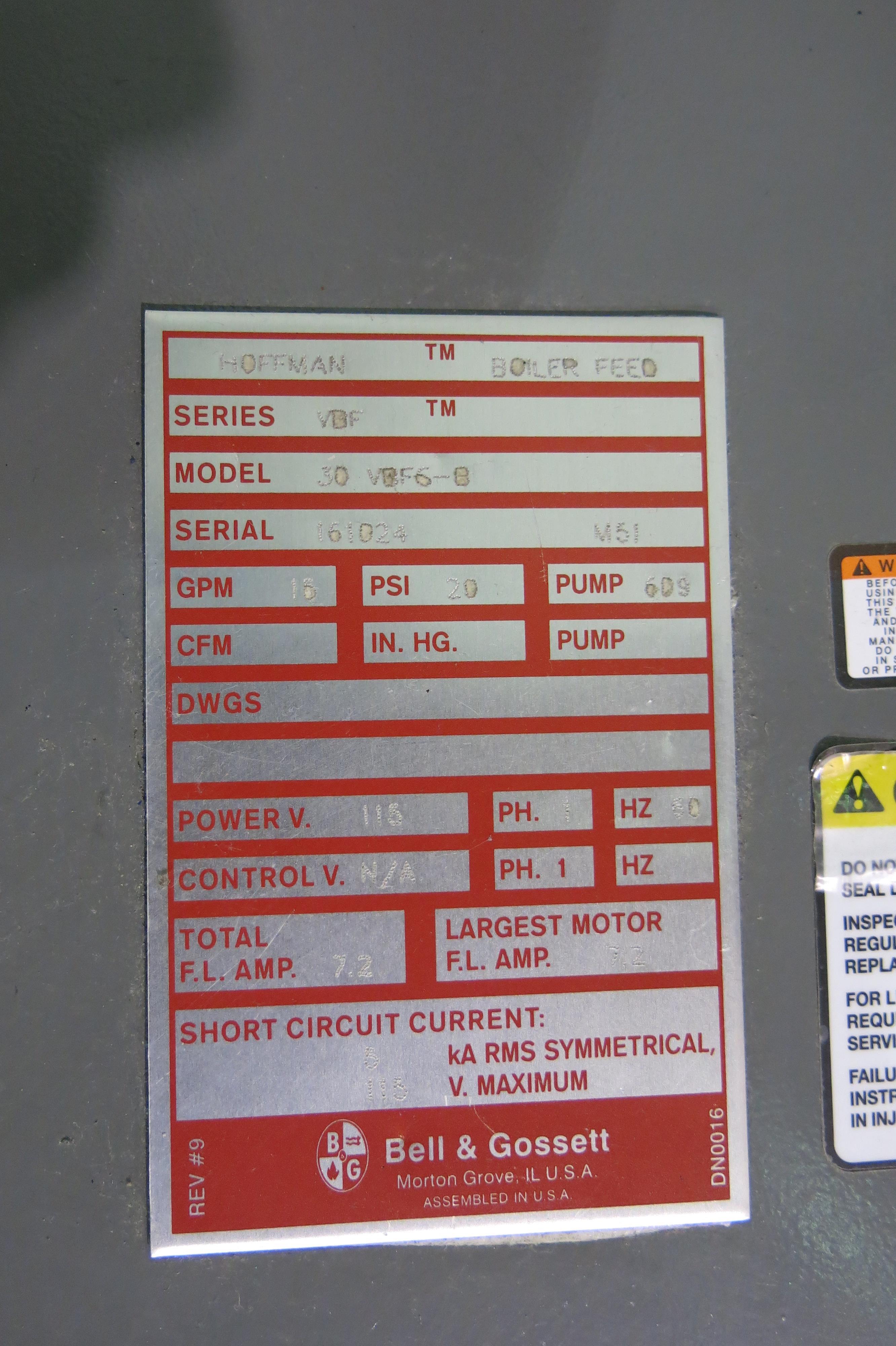 Lot 216 - US BOILER COMPANY, PIN5SNI-ME2, 86,000 BTU, NATURAL GAS BOILER, 2013, S/N 65409684, CONDENSATE