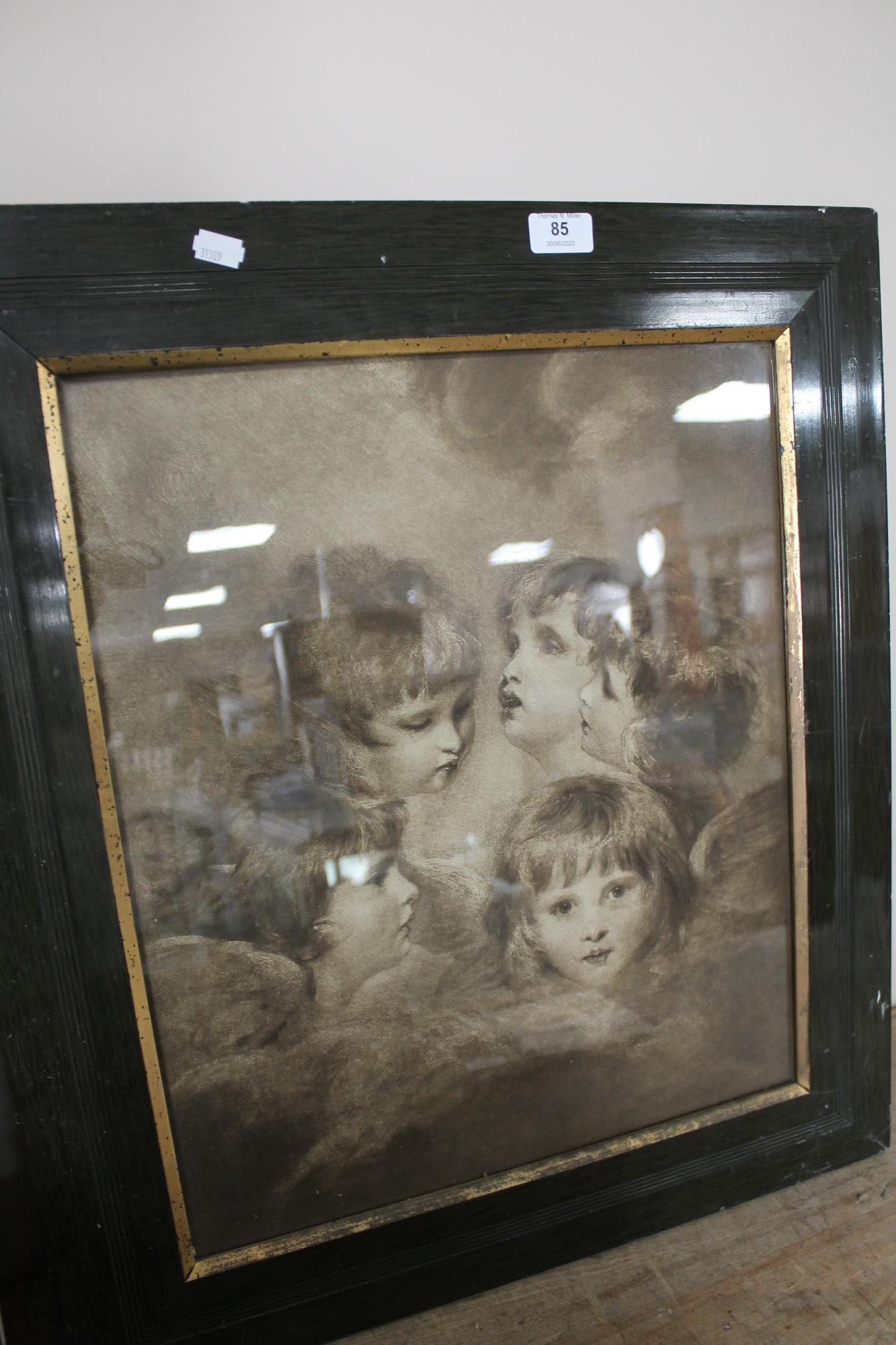 An Edwardian framed print depicting children