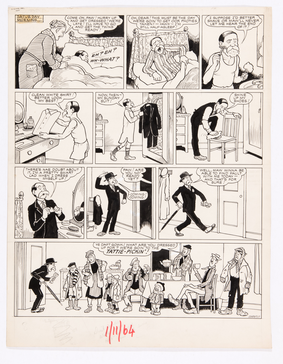 Lot 115 - Broons original artwork (1964) drawn and signed by Dudley Watkins for the Sunday Post 1 November