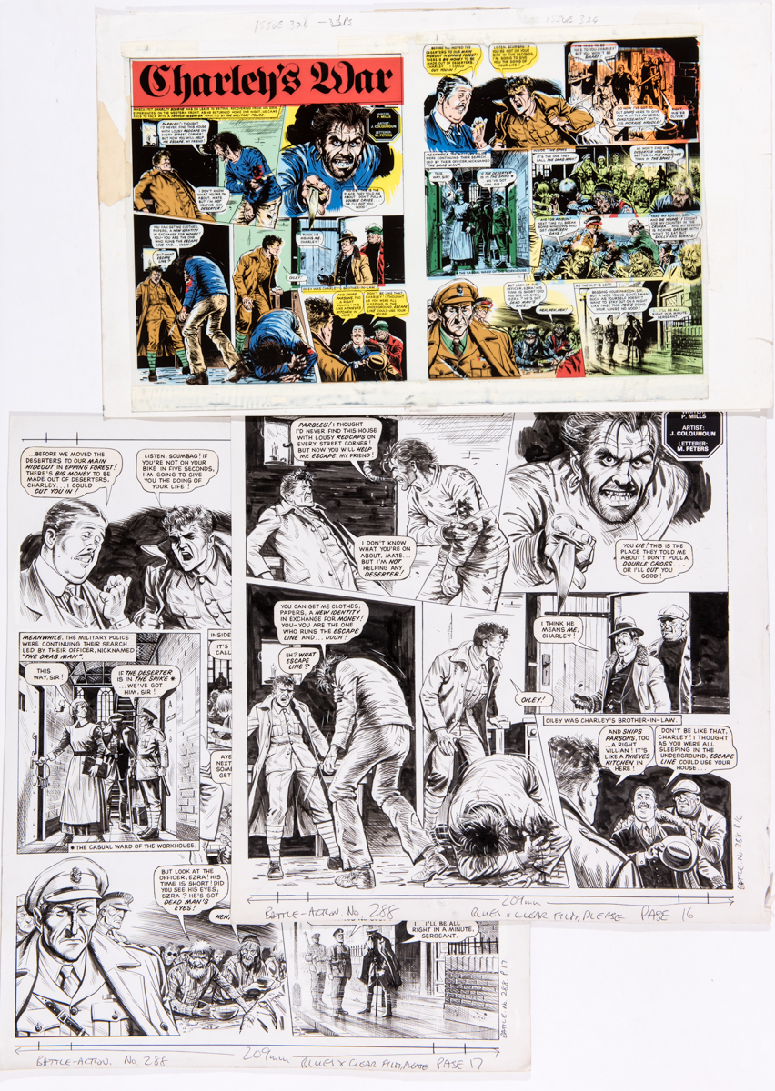 Lot 127 - Charley's War two original artworks by Joe Colquhoun from Battle Action No 288 (1984) with printer's