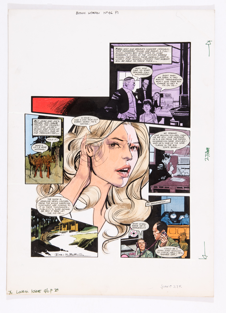 Lot 125 - Bionic Woman original artwork (1978) drawn and signed by John Burns for Look-in No 46 page 28. The