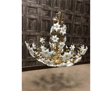 ITALIAN MID-CENTURY CONTEMPORARY DESIGN CHANDELIER, in giltmetal, with six lights issuing from a central column, decorated th
