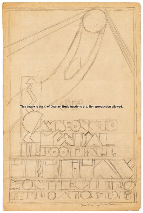 Original pencil sketch byGuillermo Labordefor the Official FIFA 1930 World Cup poster, formerly in