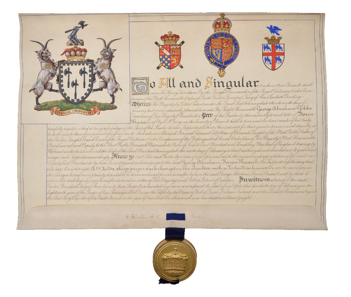 Lot 140 - Letters Patent appointing George Abraham Gibbs as Baron Wraxall