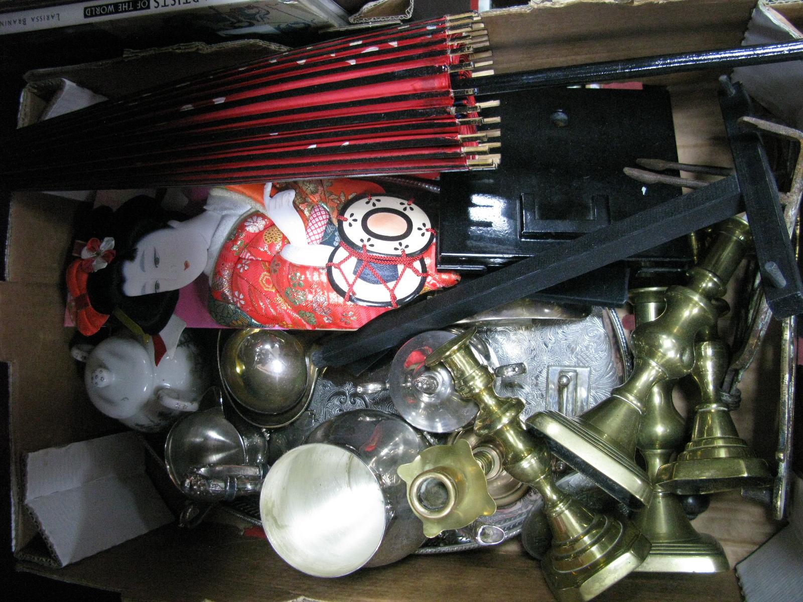 Lot 1027 - XIX Century Brass Trivets, XIX Century brass candlesticks, plated ware, plated handle, parasol and