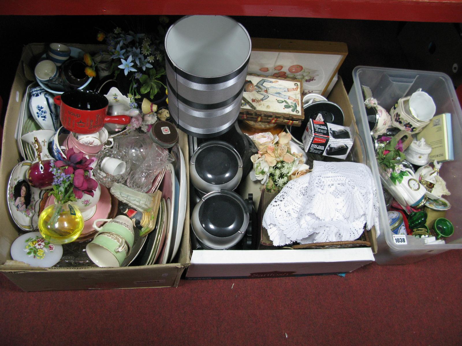 Lot 1038 - Tariff and Hurricane Lamps, ceramics, glassware, etc:- Thee Boxes