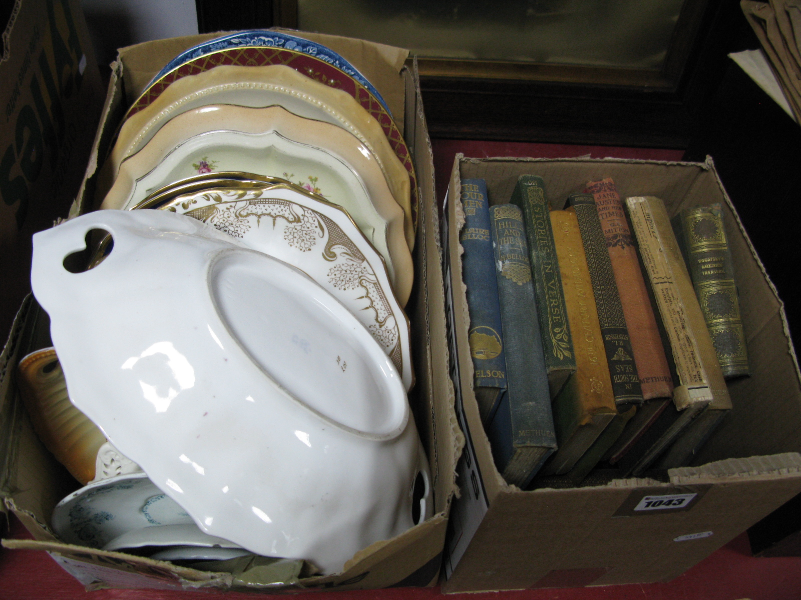 Lot 1043 - Spode, Imari, Thun and Other Plates, books:- Two Boxes
