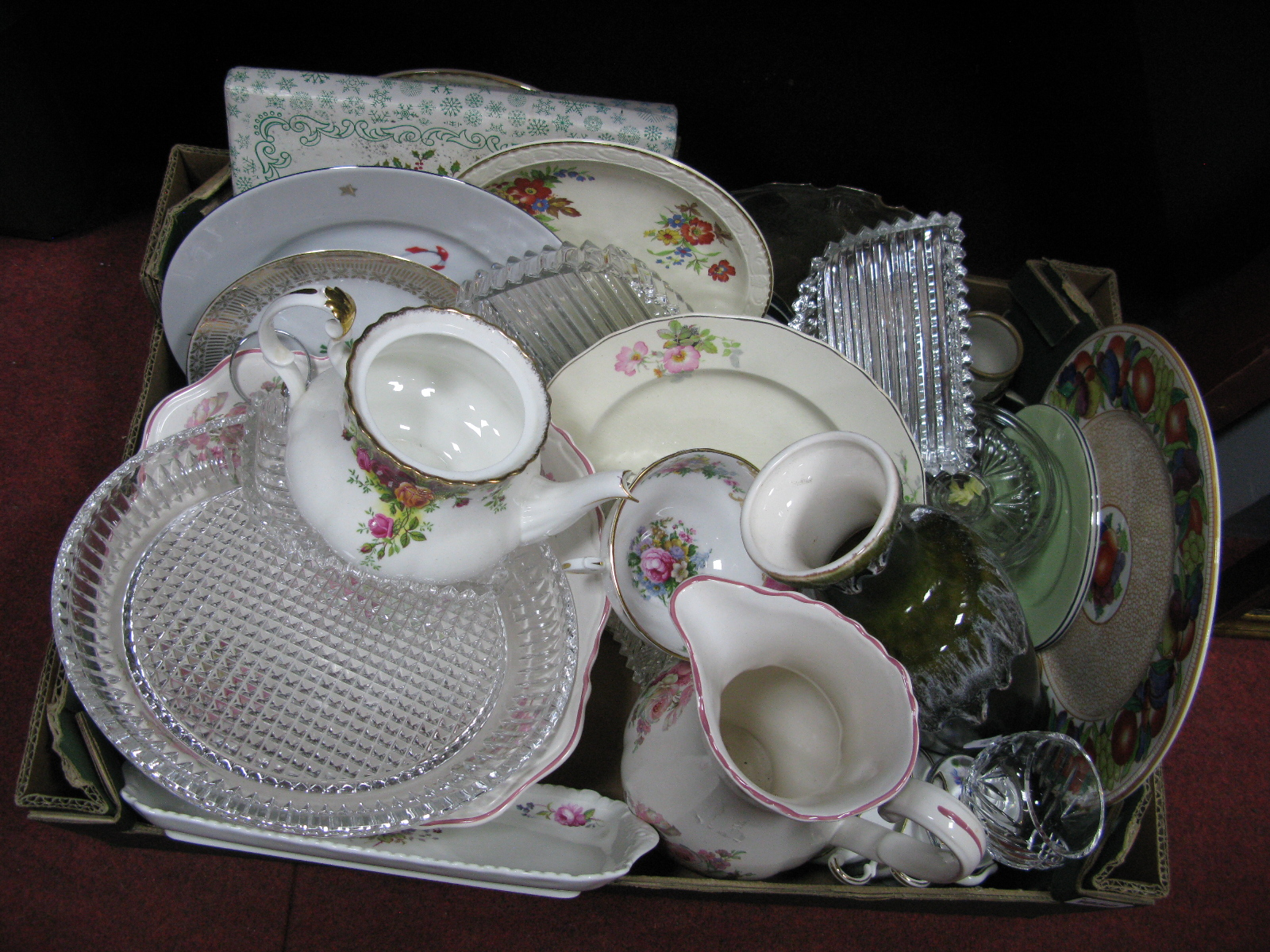 Lot 1050 - Maling Plate, jug and bowl, glassware etc:- One Box